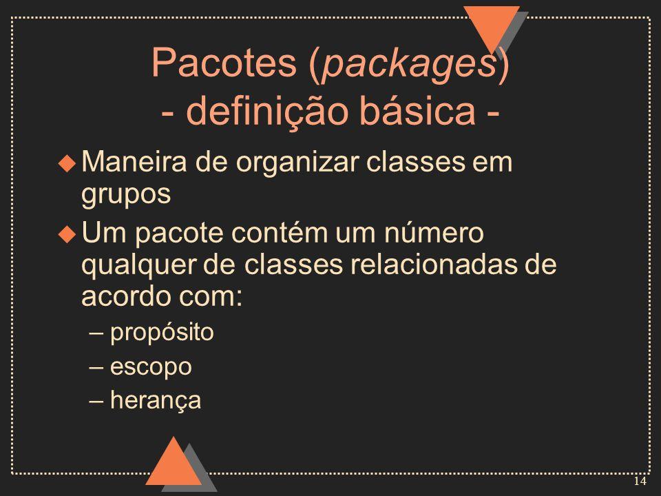 14 Pacotes (packages) - definição básica - u Maneira de organizar classes em grupos u Um pacote contém um número qualquer de classes relacionadas de a