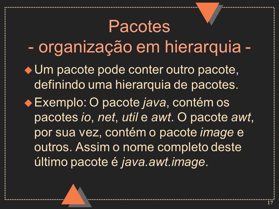 17 Pacotes - organização em hierarquia - u Um pacote pode conter outro pacote, definindo uma hierarquia de pacotes. u Exemplo: O pacote java, contém o