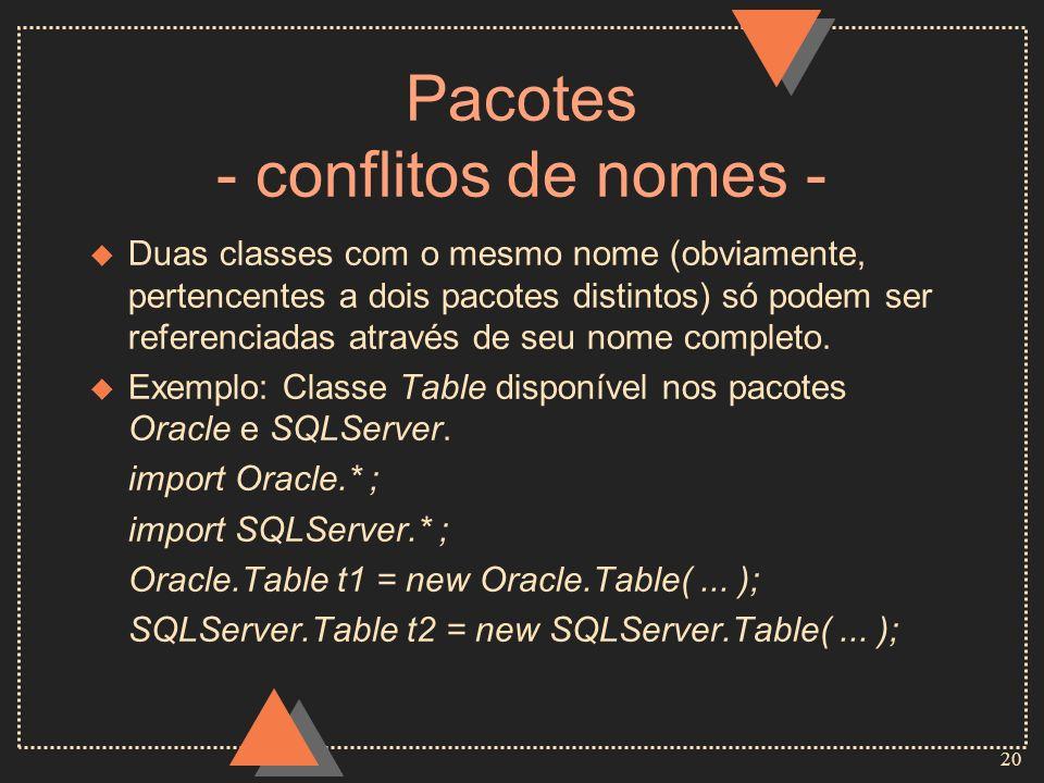 20 Pacotes - conflitos de nomes - u Duas classes com o mesmo nome (obviamente, pertencentes a dois pacotes distintos) só podem ser referenciadas atrav