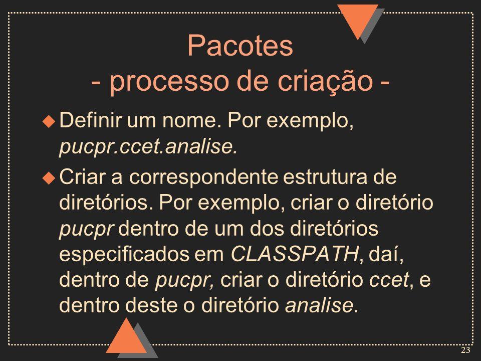 23 Pacotes - processo de criação - u Definir um nome. Por exemplo, pucpr.ccet.analise. u Criar a correspondente estrutura de diretórios. Por exemplo,
