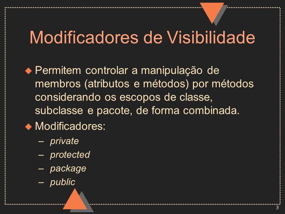 3 Modificadores de Visibilidade u Permitem controlar a manipulação de membros (atributos e métodos) por métodos considerando os escopos de classe, sub