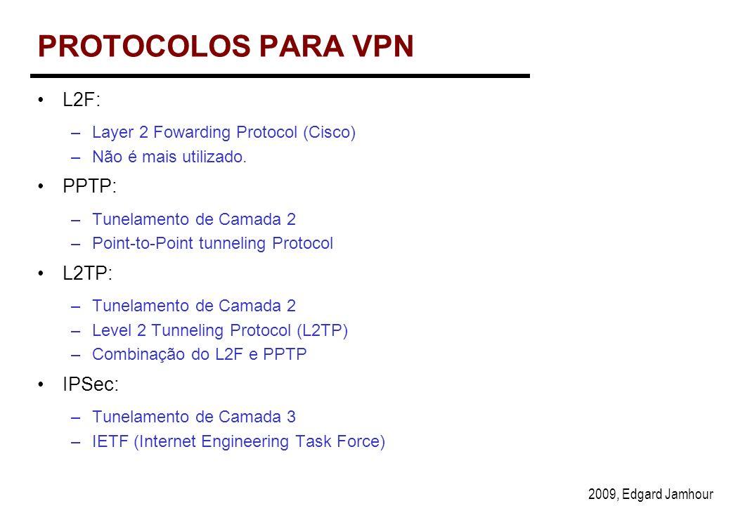 2009, Edgard Jamhour PROTOCOLOS PARA VPN L2F: –Layer 2 Fowarding Protocol (Cisco) –Não é mais utilizado.