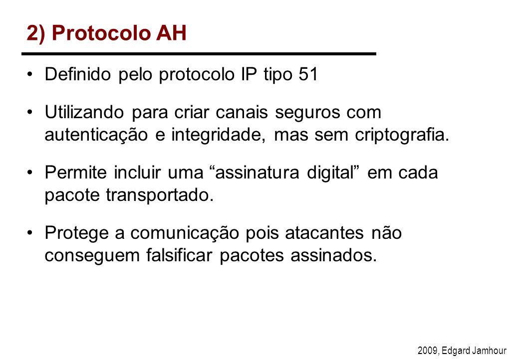 2009, Edgard Jamhour 2) Protocolo AH Definido pelo protocolo IP tipo 51 Utilizando para criar canais seguros com autenticação e integridade, mas sem criptografia.