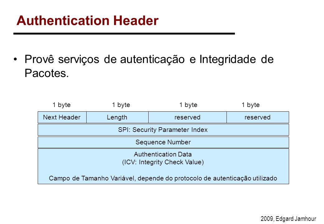 2009, Edgard Jamhour Authentication Header Next Headerreserved 1 byte Lengthreserved SPI: Security Parameter Index Authentication Data (ICV: Integrity Check Value) Campo de Tamanho Variável, depende do protocolo de autenticação utilizado 1 byte Provê serviços de autenticação e Integridade de Pacotes.