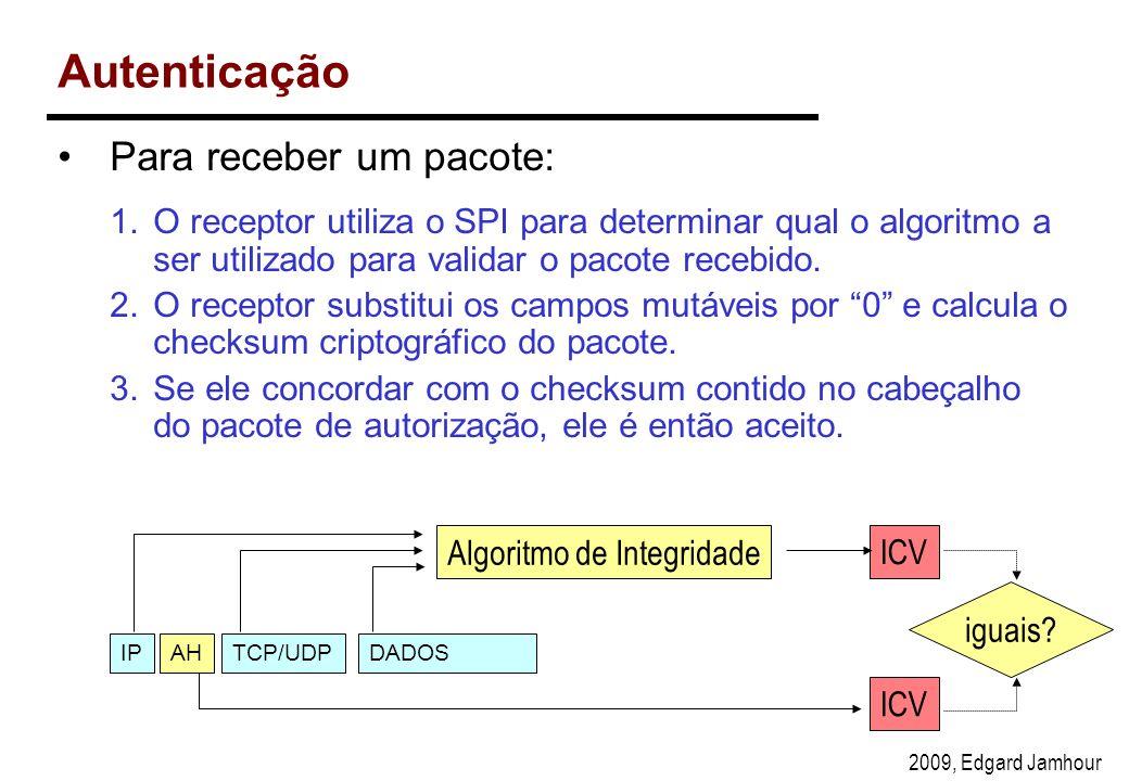 2009, Edgard Jamhour Autenticação Para receber um pacote: 1.O receptor utiliza o SPI para determinar qual o algoritmo a ser utilizado para validar o pacote recebido.