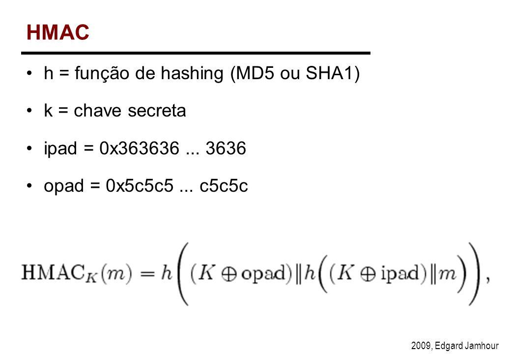 2009, Edgard Jamhour HMAC h = função de hashing (MD5 ou SHA1) k = chave secreta ipad = 0x363636...