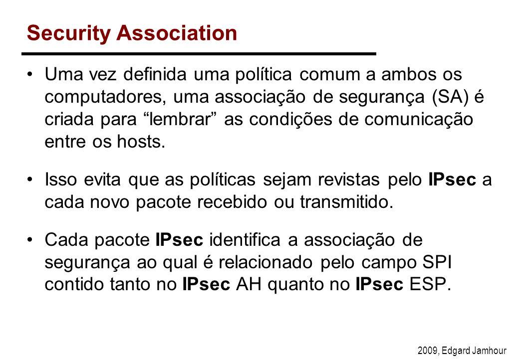 2009, Edgard Jamhour Security Association Uma vez definida uma política comum a ambos os computadores, uma associação de segurança (SA) é criada para lembrar as condições de comunicação entre os hosts.