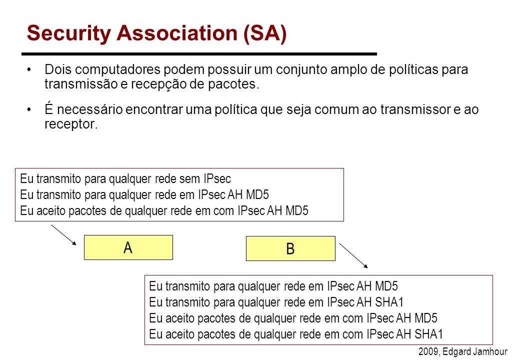 2009, Edgard Jamhour Security Association (SA) Dois computadores podem possuir um conjunto amplo de políticas para transmissão e recepção de pacotes.