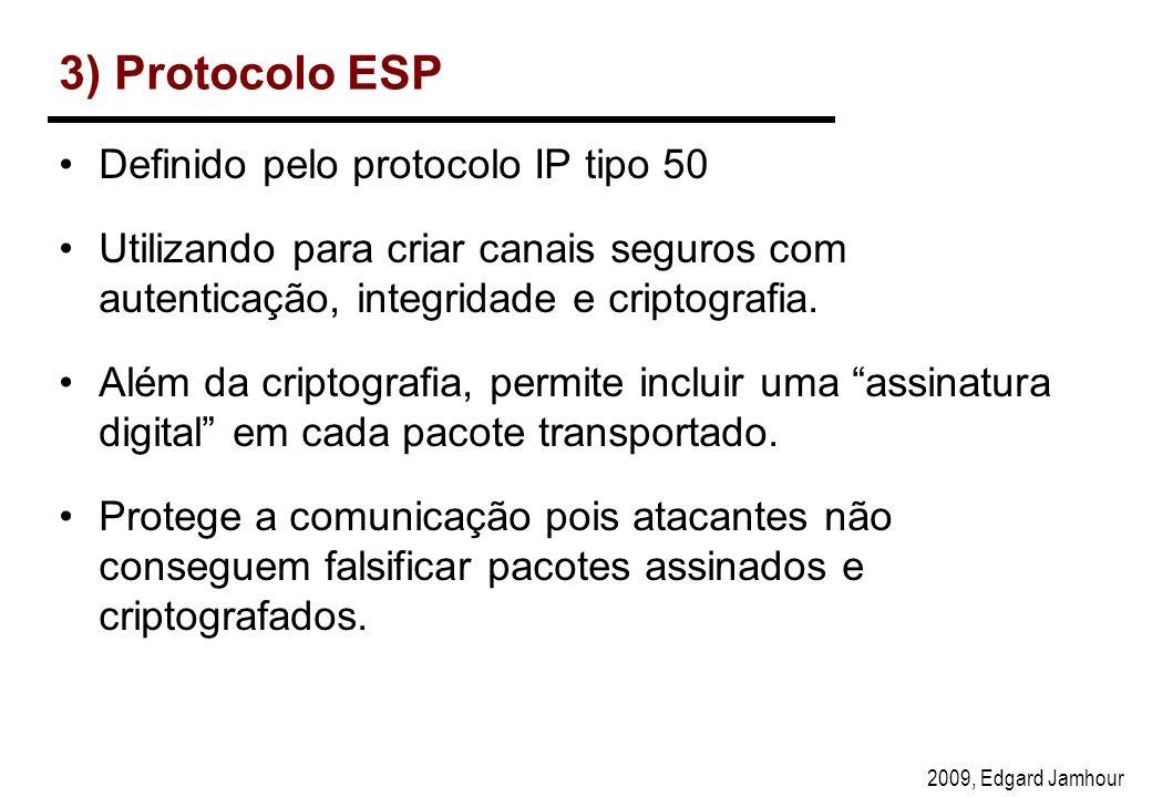 2009, Edgard Jamhour 3) Protocolo ESP Definido pelo protocolo IP tipo 50 Utilizando para criar canais seguros com autenticação, integridade e criptografia.