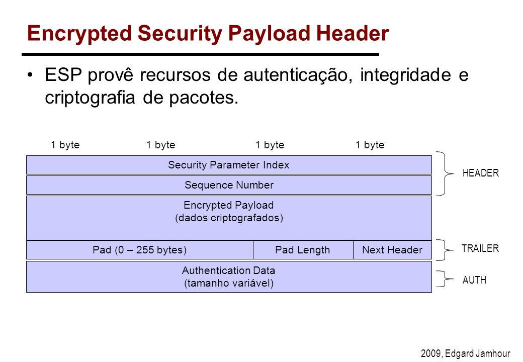 2009, Edgard Jamhour Encrypted Security Payload Header ESP provê recursos de autenticação, integridade e criptografia de pacotes.