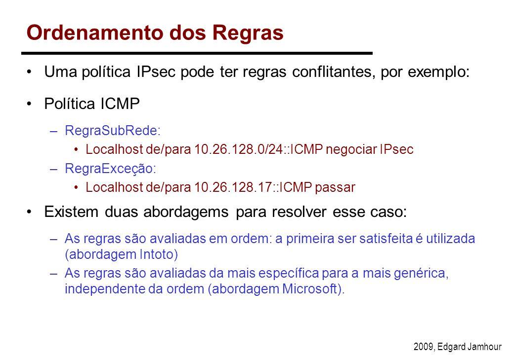 2009, Edgard Jamhour Ordenamento dos Regras Uma política IPsec pode ter regras conflitantes, por exemplo: Política ICMP –RegraSubRede: Localhost de/para 10.26.128.0/24::ICMP negociar IPsec –RegraExceção: Localhost de/para 10.26.128.17::ICMP passar Existem duas abordagems para resolver esse caso: –As regras são avaliadas em ordem: a primeira ser satisfeita é utilizada (abordagem Intoto) –As regras são avaliadas da mais específica para a mais genérica, independente da ordem (abordagem Microsoft).