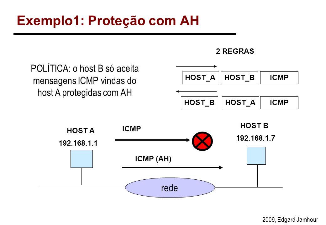2009, Edgard Jamhour Exemplo1: Proteção com AH rede 192.168.1.1 192.168.1.7 ICMP ICMP (AH) HOST B HOST_AHOST_B ICMP HOST_BHOST_AICMP 2 REGRAS HOST A POLÍTICA: o host B só aceita mensagens ICMP vindas do host A protegidas com AH