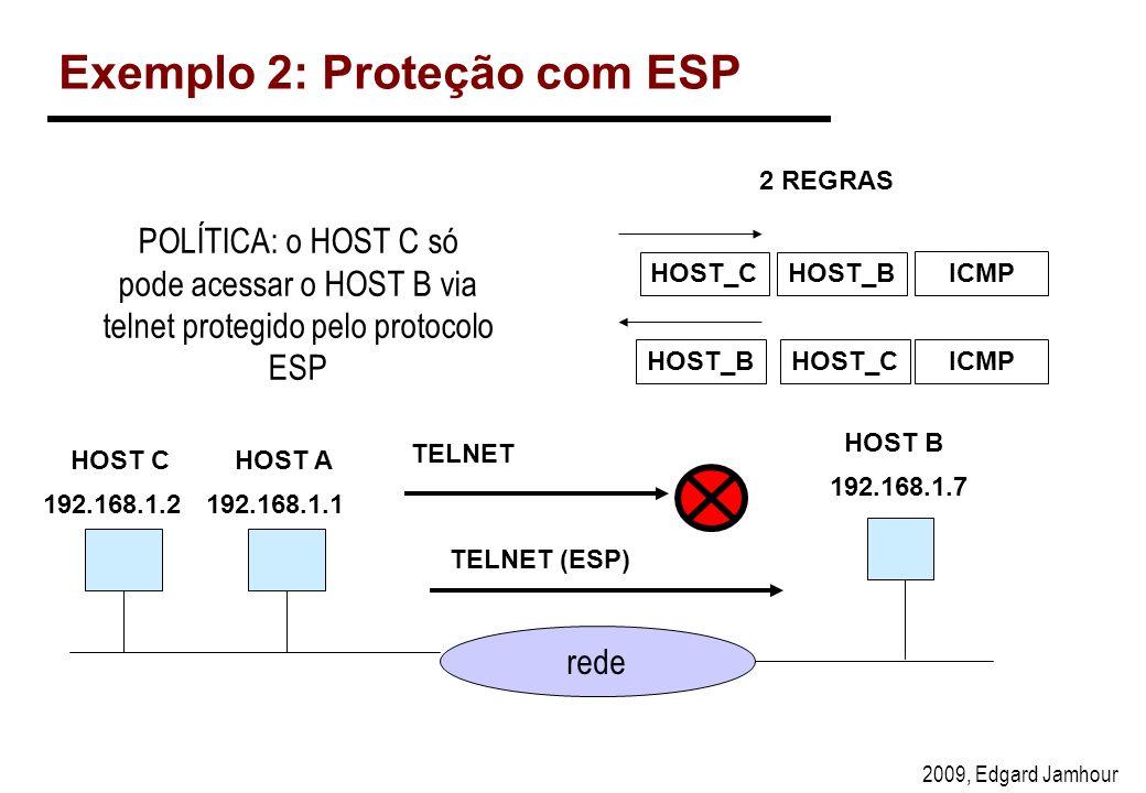 2009, Edgard Jamhour Exemplo 2: Proteção com ESP rede 192.168.1.1 192.168.1.7 TELNET TELNET (ESP) HOST B HOST_CHOST_B ICMP HOST_BHOST_CICMP 2 REGRAS HOST A POLÍTICA: o HOST C só pode acessar o HOST B via telnet protegido pelo protocolo ESP 192.168.1.2 HOST C