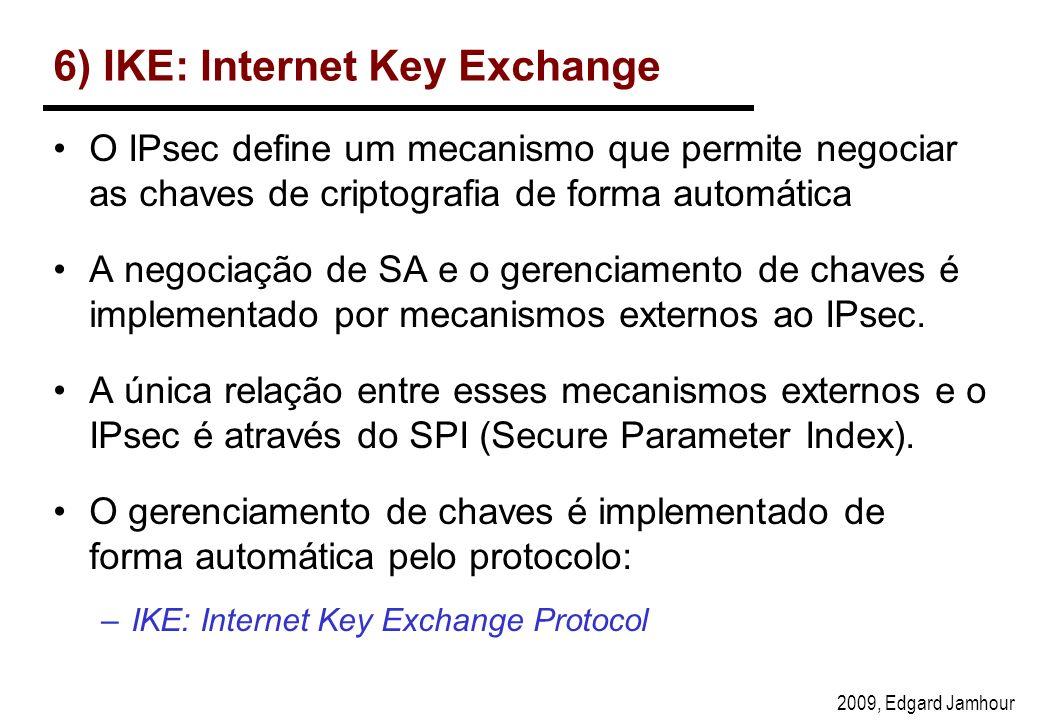 2009, Edgard Jamhour 6) IKE: Internet Key Exchange O IPsec define um mecanismo que permite negociar as chaves de criptografia de forma automática A negociação de SA e o gerenciamento de chaves é implementado por mecanismos externos ao IPsec.