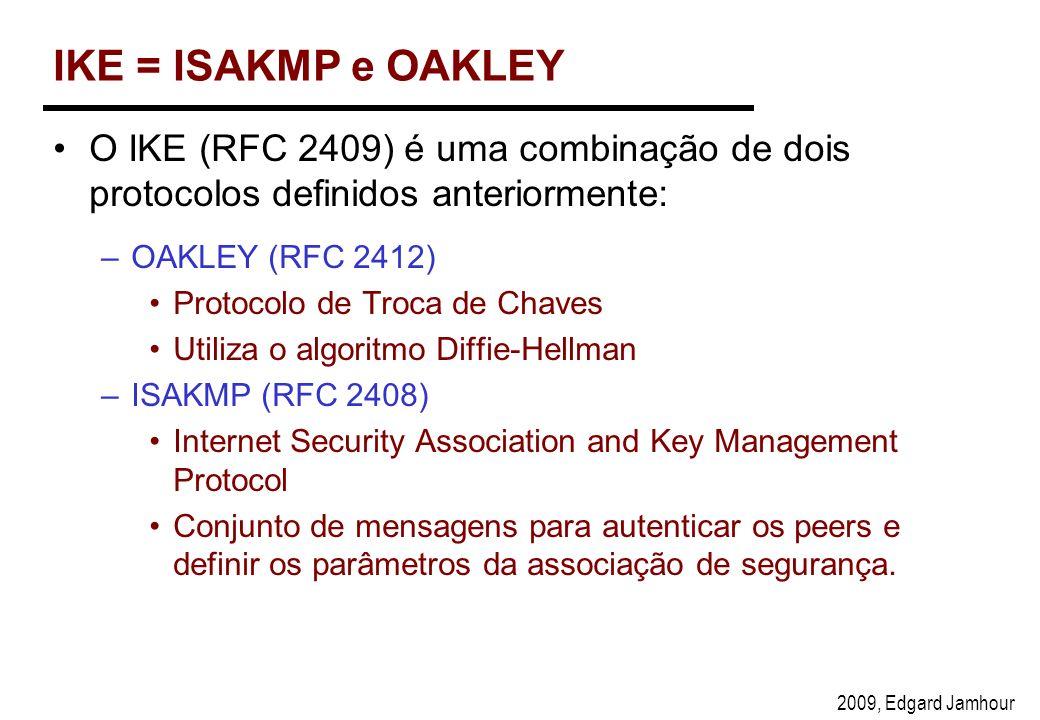 2009, Edgard Jamhour IKE = ISAKMP e OAKLEY O IKE (RFC 2409) é uma combinação de dois protocolos definidos anteriormente: –OAKLEY (RFC 2412) Protocolo de Troca de Chaves Utiliza o algoritmo Diffie-Hellman –ISAKMP (RFC 2408) Internet Security Association and Key Management Protocol Conjunto de mensagens para autenticar os peers e definir os parâmetros da associação de segurança.