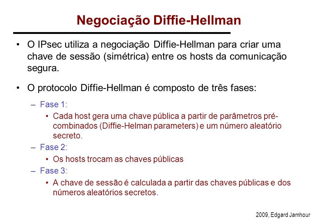 2009, Edgard Jamhour Negociação Diffie-Hellman O IPsec utiliza a negociação Diffie-Hellman para criar uma chave de sessão (simétrica) entre os hosts da comunicação segura.