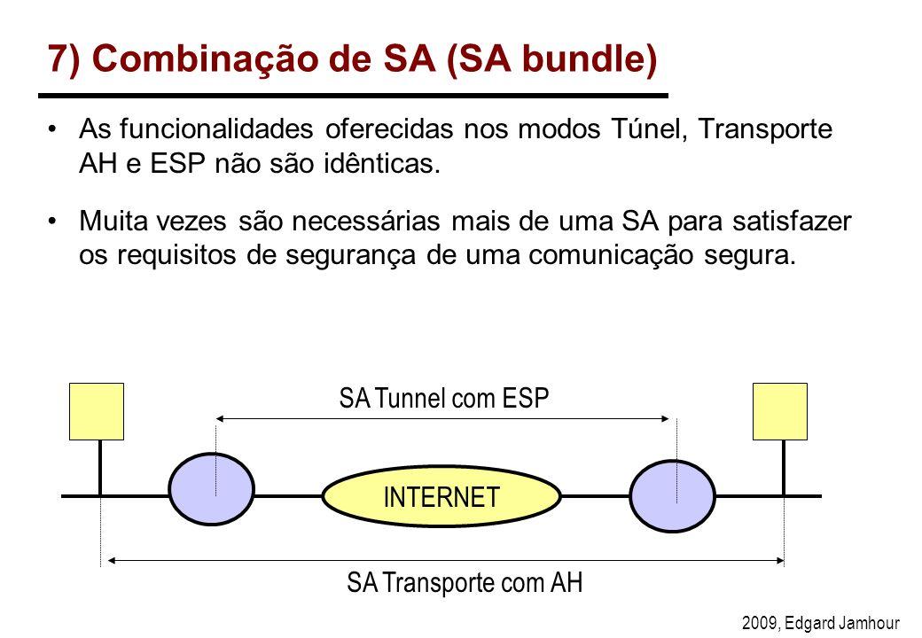 2009, Edgard Jamhour 7) Combinação de SA (SA bundle) As funcionalidades oferecidas nos modos Túnel, Transporte AH e ESP não são idênticas.