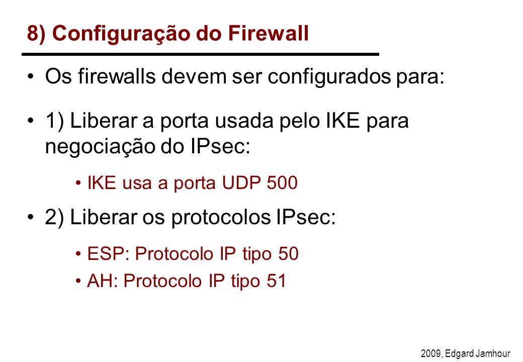 2009, Edgard Jamhour 8) Configuração do Firewall Os firewalls devem ser configurados para: 1) Liberar a porta usada pelo IKE para negociação do IPsec: IKE usa a porta UDP 500 2) Liberar os protocolos IPsec: ESP: Protocolo IP tipo 50 AH: Protocolo IP tipo 51