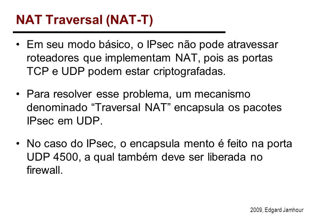2009, Edgard Jamhour NAT Traversal (NAT-T) Em seu modo básico, o IPsec não pode atravessar roteadores que implementam NAT, pois as portas TCP e UDP podem estar criptografadas.
