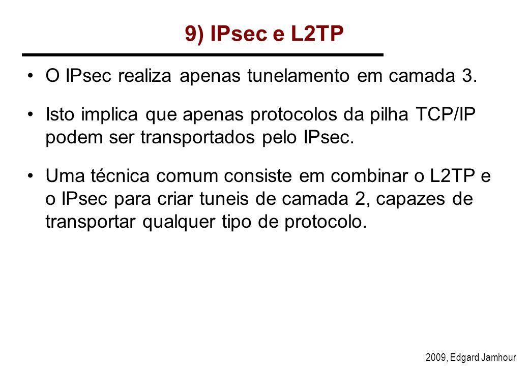 2009, Edgard Jamhour 9) IPsec e L2TP O IPsec realiza apenas tunelamento em camada 3.