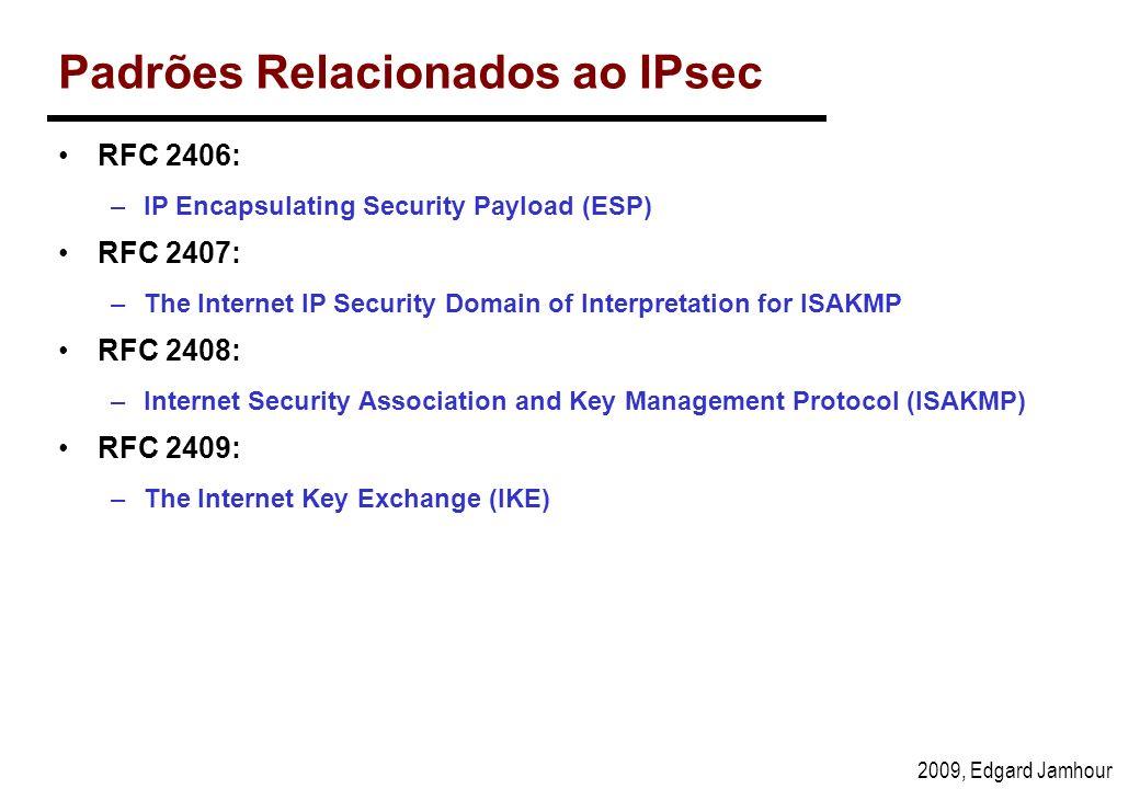 2009, Edgard Jamhour Padrões Relacionados ao IPsec RFC 2406: –IP Encapsulating Security Payload (ESP) RFC 2407: –The Internet IP Security Domain of Interpretation for ISAKMP RFC 2408: –Internet Security Association and Key Management Protocol (ISAKMP) RFC 2409: –The Internet Key Exchange (IKE)