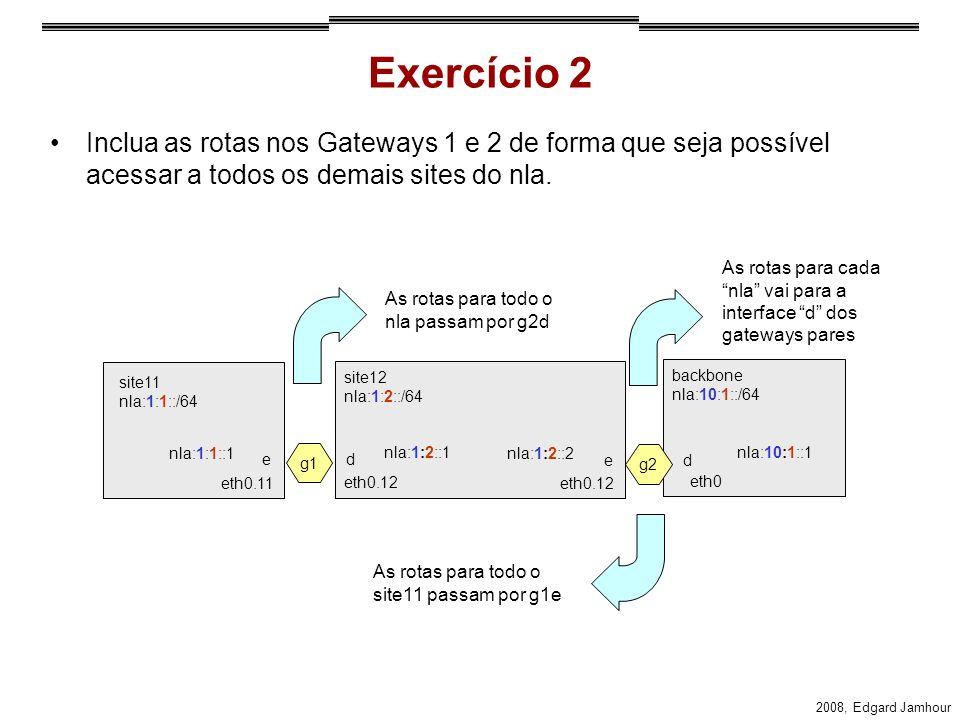 2008, Edgard Jamhour Exercício 2 Inclua as rotas nos Gateways 1 e 2 de forma que seja possível acessar a todos os demais sites do nla. site11 nla:1:1: