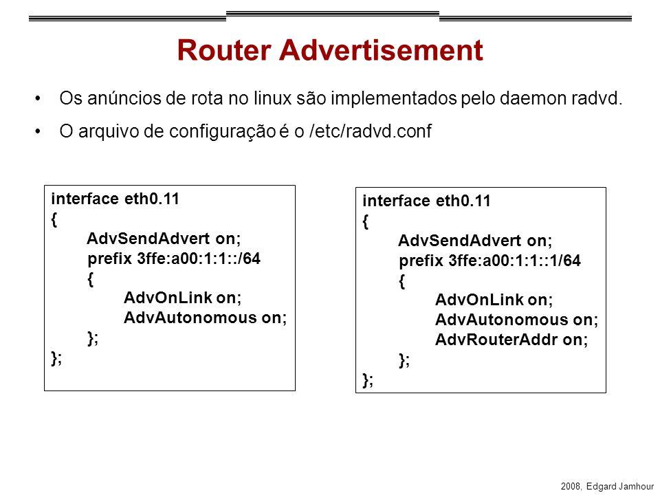 2008, Edgard Jamhour Router Advertisement Os anúncios de rota no linux são implementados pelo daemon radvd. O arquivo de configuração é o /etc/radvd.c