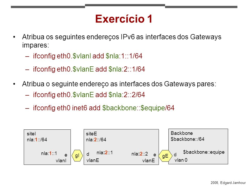 2008, Edgard Jamhour Exercício 1 Atribua os seguintes endereços IPv6 as interfaces dos Gateways impares: –ifconfig eth0.$vlanI add $nla:1::1/64 –ifconfig eth0.$vlanE add $nla:2::1/64 Atribua o seguinte endereço as interfaces dos Gateways pares: –ifconfig eth0.$vlanE add $nla:2::2/64 –ifconfig eth0 inet6 add $backbone::$equipe/64 siteI nla:1::/64 nla:1::1 nla:2::1 gI e d gE ed nla:2::2 $backbone::equipe vlanI vlanE siteE nla:2::/64 Backbone $backbone::/64 vlan 0