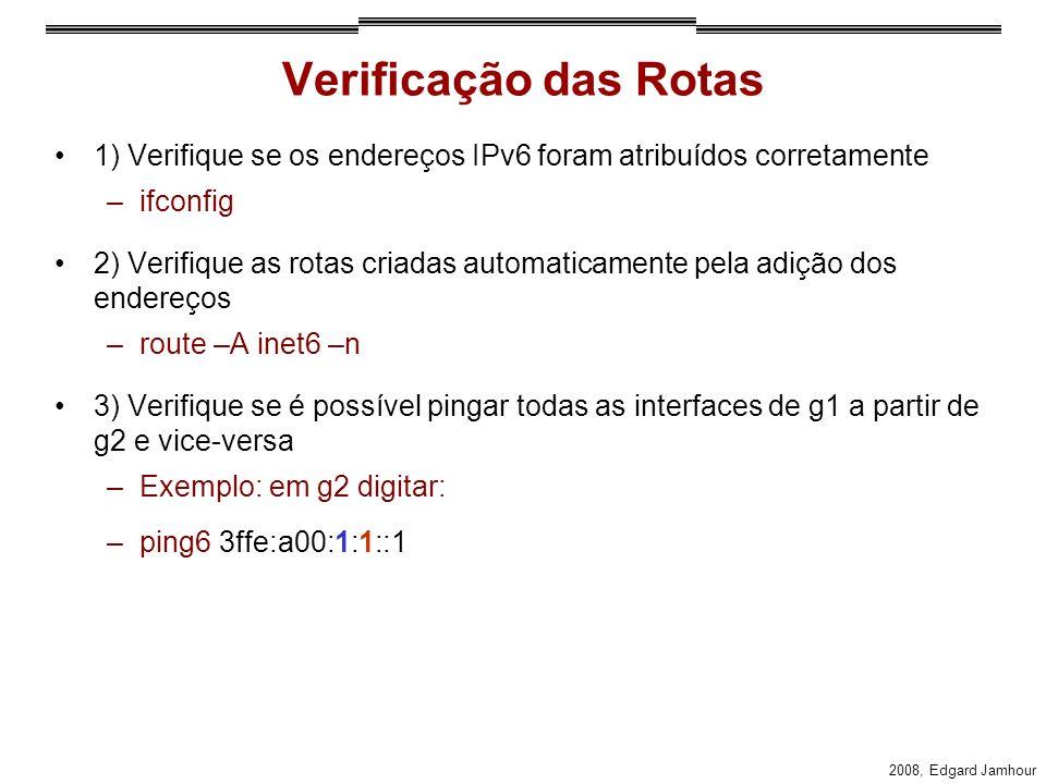 2008, Edgard Jamhour Verificação das Rotas 1) Verifique se os endereços IPv6 foram atribuídos corretamente –ifconfig 2) Verifique as rotas criadas automaticamente pela adição dos endereços –route –A inet6 –n 3) Verifique se é possível pingar todas as interfaces de g1 a partir de g2 e vice-versa –Exemplo: em g2 digitar: –ping6 3ffe:a00:1:1::1