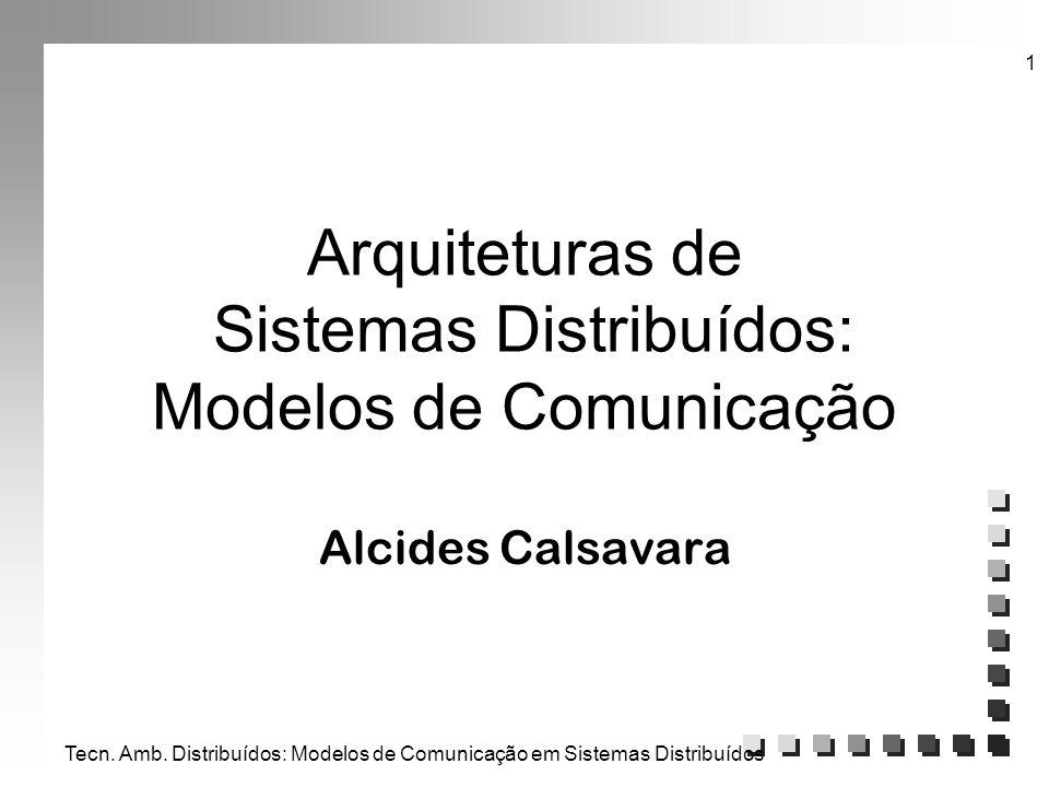 Tecn. Amb. Distribuídos: Modelos de Comunicação em Sistemas Distribuídos 1 Arquiteturas de Sistemas Distribuídos: Modelos de Comunicação Alcides Calsa