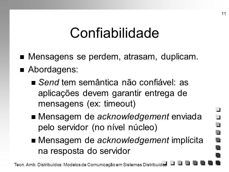 Tecn. Amb. Distribuídos: Modelos de Comunicação em Sistemas Distribuídos 11 Confiabilidade n Mensagens se perdem, atrasam, duplicam. n Abordagens: n S