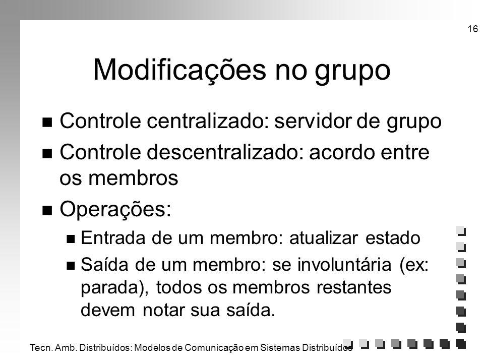 Tecn. Amb. Distribuídos: Modelos de Comunicação em Sistemas Distribuídos 16 Modificações no grupo n Controle centralizado: servidor de grupo n Control
