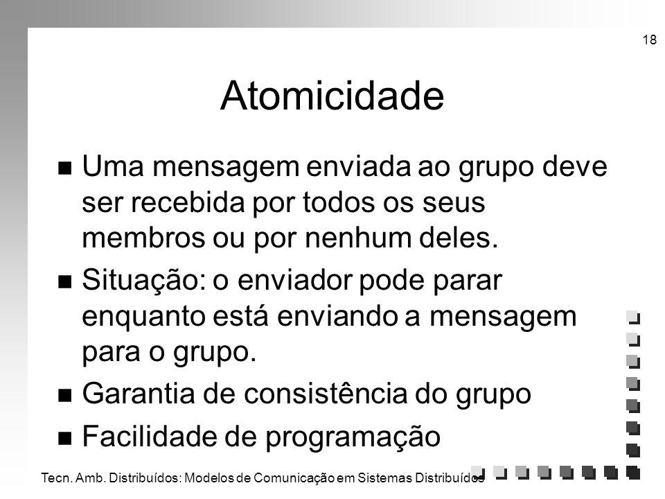 Tecn. Amb. Distribuídos: Modelos de Comunicação em Sistemas Distribuídos 18 Atomicidade n Uma mensagem enviada ao grupo deve ser recebida por todos os