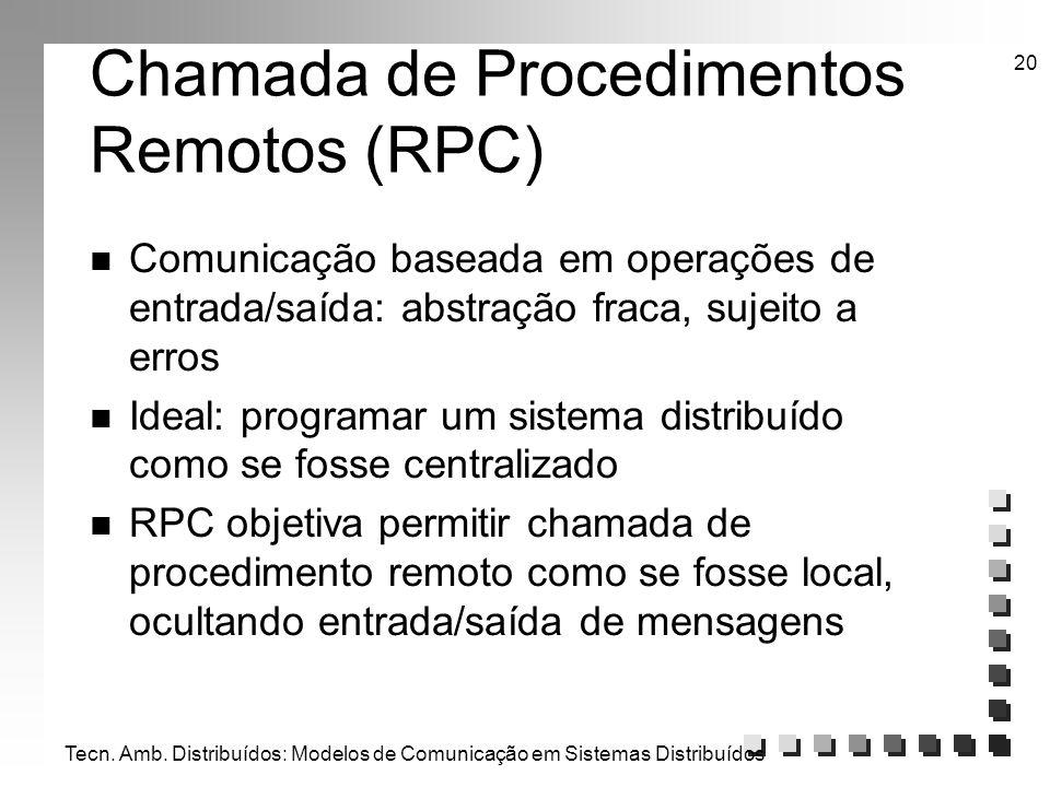Tecn. Amb. Distribuídos: Modelos de Comunicação em Sistemas Distribuídos 20 Chamada de Procedimentos Remotos (RPC) n Comunicação baseada em operações