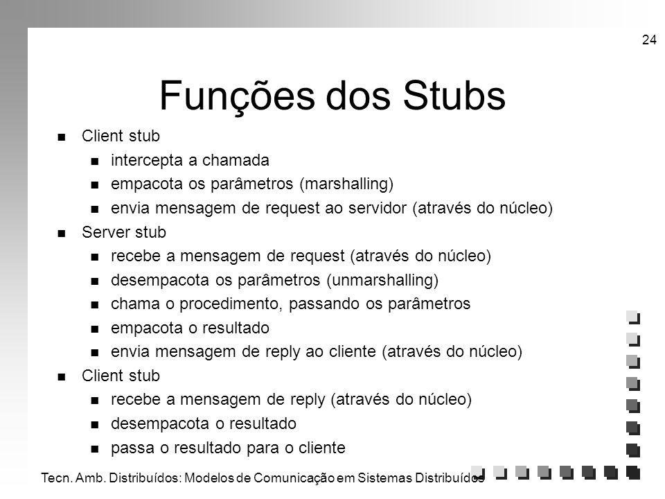 Tecn. Amb. Distribuídos: Modelos de Comunicação em Sistemas Distribuídos 24 Funções dos Stubs n Client stub n intercepta a chamada n empacota os parâm