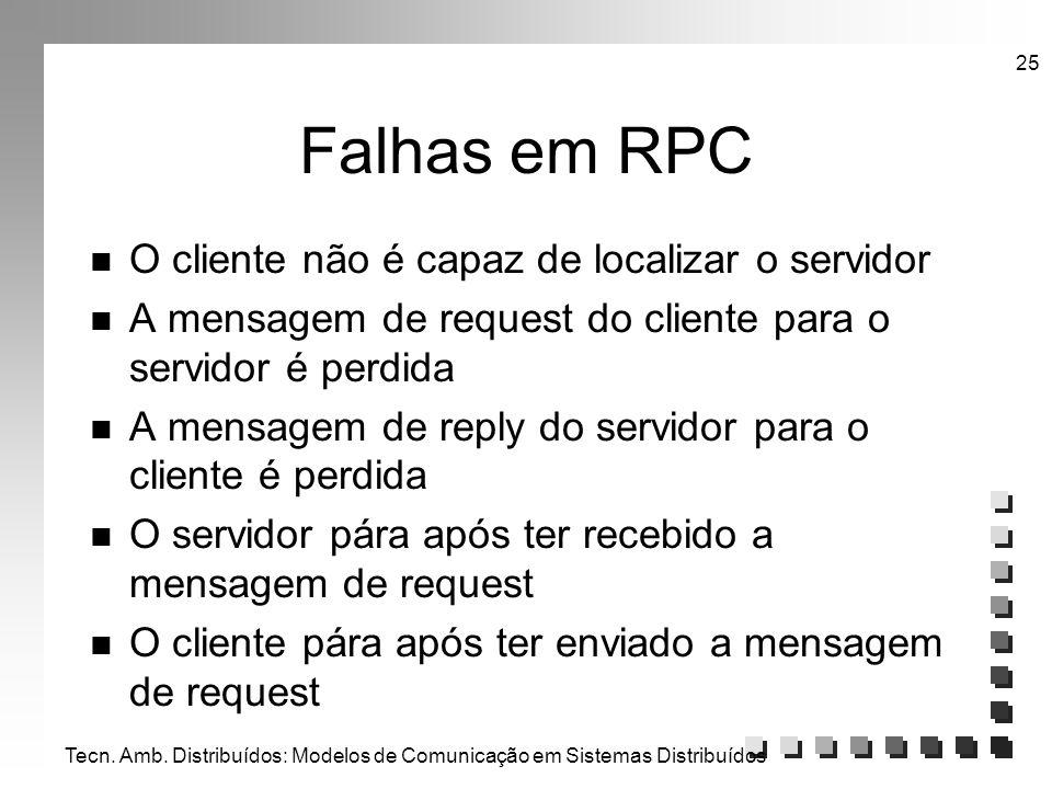 Tecn. Amb. Distribuídos: Modelos de Comunicação em Sistemas Distribuídos 25 Falhas em RPC n O cliente não é capaz de localizar o servidor n A mensagem