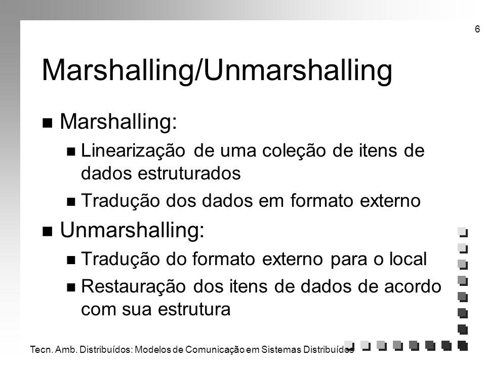 Tecn. Amb. Distribuídos: Modelos de Comunicação em Sistemas Distribuídos 6 Marshalling/Unmarshalling n Marshalling: n Linearização de uma coleção de i