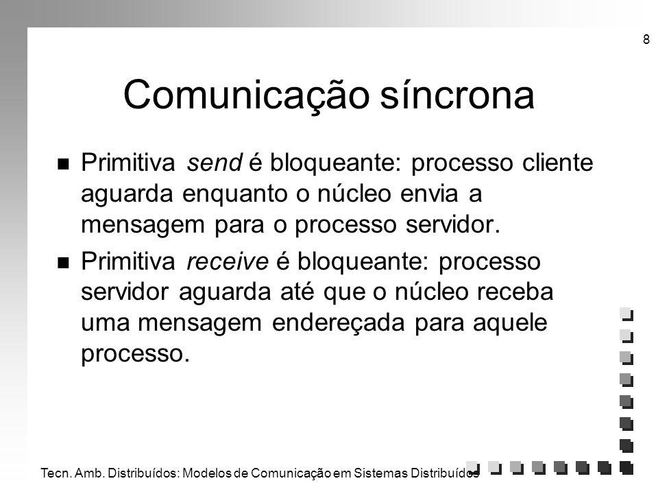 Tecn. Amb. Distribuídos: Modelos de Comunicação em Sistemas Distribuídos 8 Comunicação síncrona n Primitiva send é bloqueante: processo cliente aguard