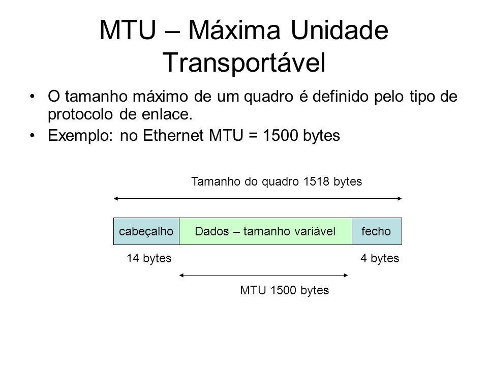 MTU – Máxima Unidade Transportável O tamanho máximo de um quadro é definido pelo tipo de protocolo de enlace. Exemplo: no Ethernet MTU = 1500 bytes ca