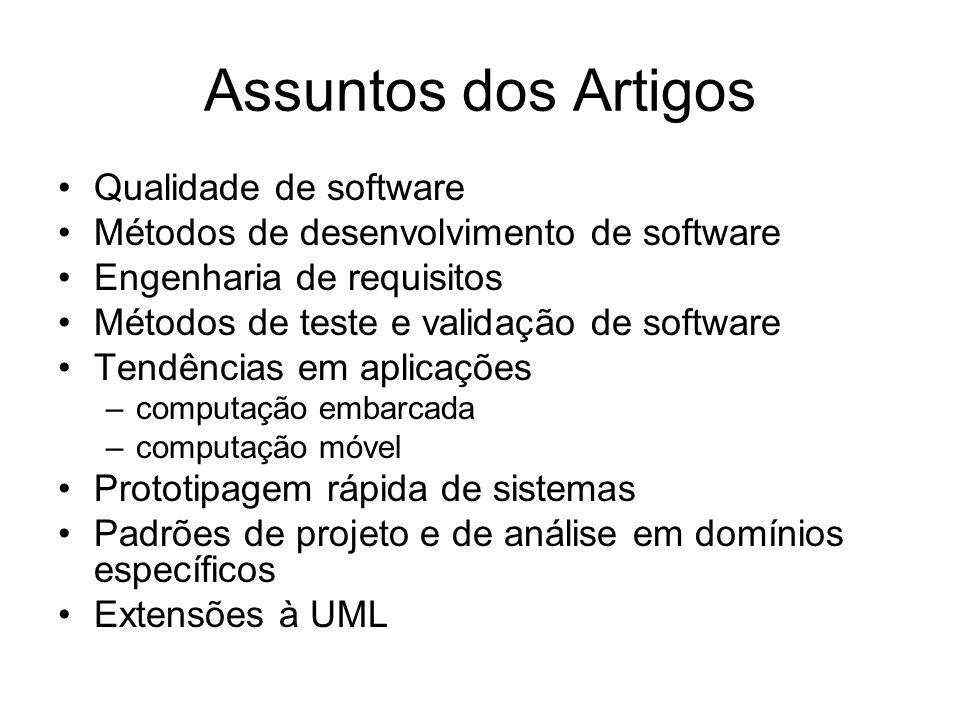 Assuntos dos Artigos Qualidade de software Métodos de desenvolvimento de software Engenharia de requisitos Métodos de teste e validação de software Te