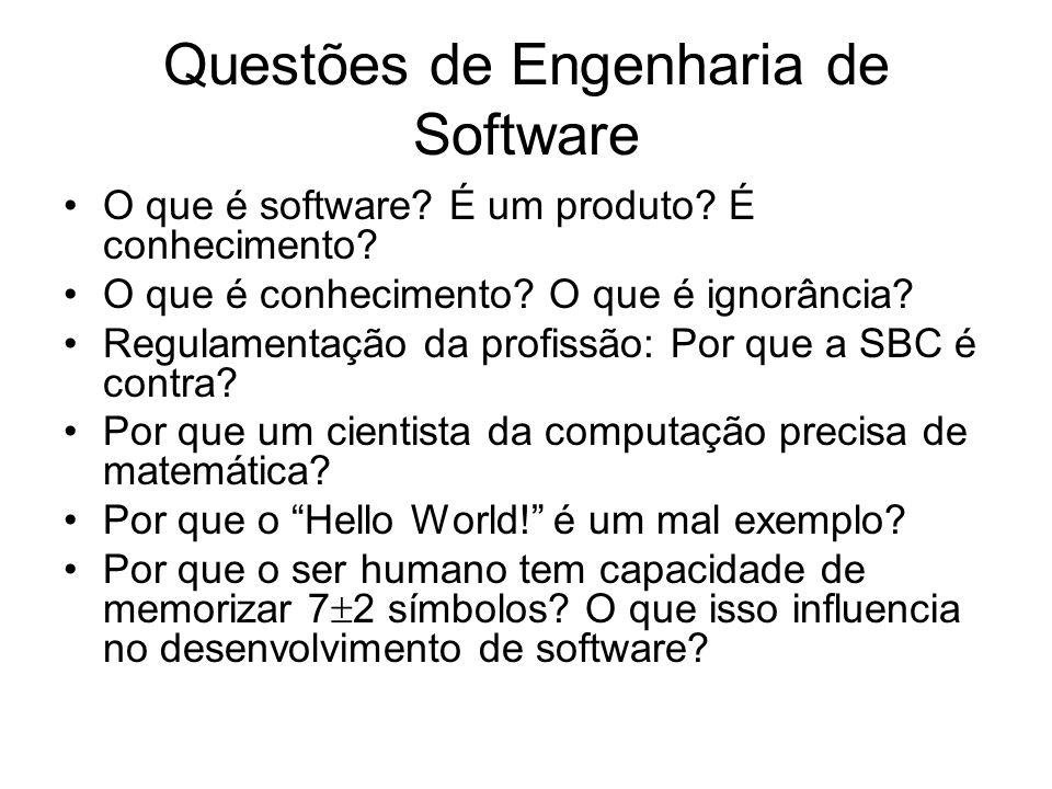 Questões de Engenharia de Software O que é software? É um produto? É conhecimento? O que é conhecimento? O que é ignorância? Regulamentação da profiss