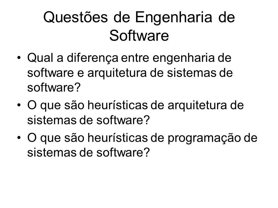 Questões de Engenharia de Software Qual a diferença entre engenharia de software e arquitetura de sistemas de software? O que são heurísticas de arqui