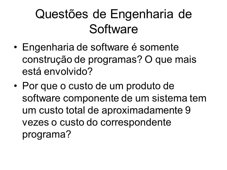 Questões de Engenharia de Software Engenharia de software é somente construção de programas? O que mais está envolvido? Por que o custo de um produto