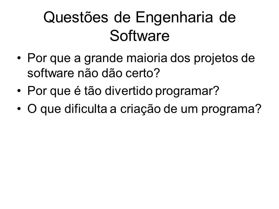 Questões de Engenharia de Software Por que a grande maioria dos projetos de software não dão certo? Por que é tão divertido programar? O que dificulta