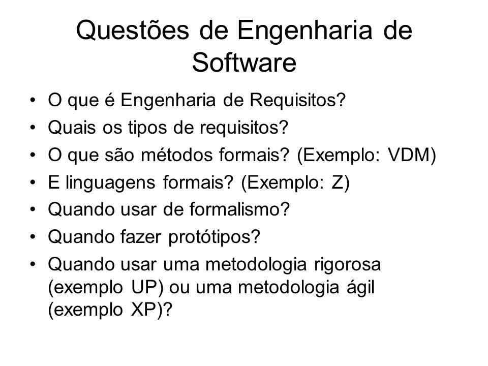 Questões de Engenharia de Software O que é Engenharia de Requisitos? Quais os tipos de requisitos? O que são métodos formais? (Exemplo: VDM) E linguag
