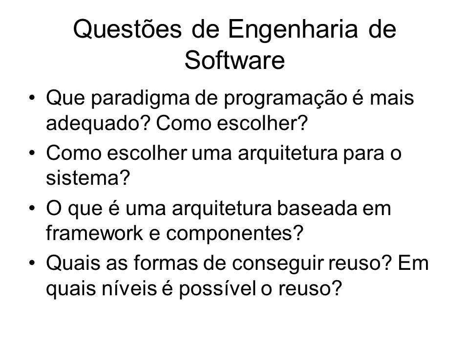 Questões de Engenharia de Software Que paradigma de programação é mais adequado? Como escolher? Como escolher uma arquitetura para o sistema? O que é