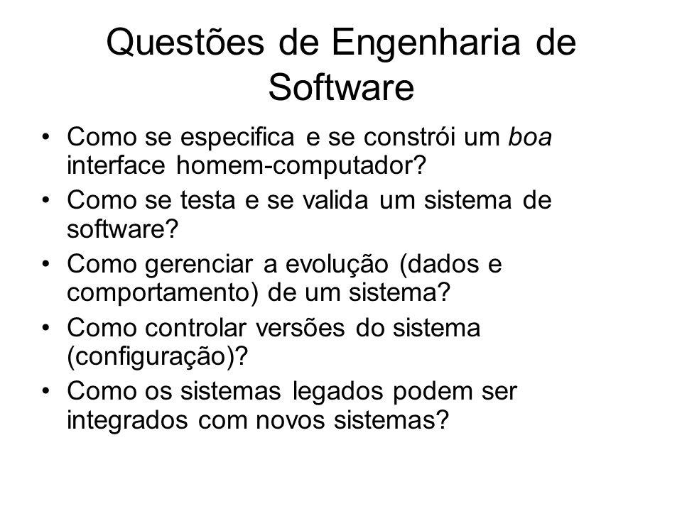 Questões de Engenharia de Software Como se especifica e se constrói um boa interface homem-computador? Como se testa e se valida um sistema de softwar