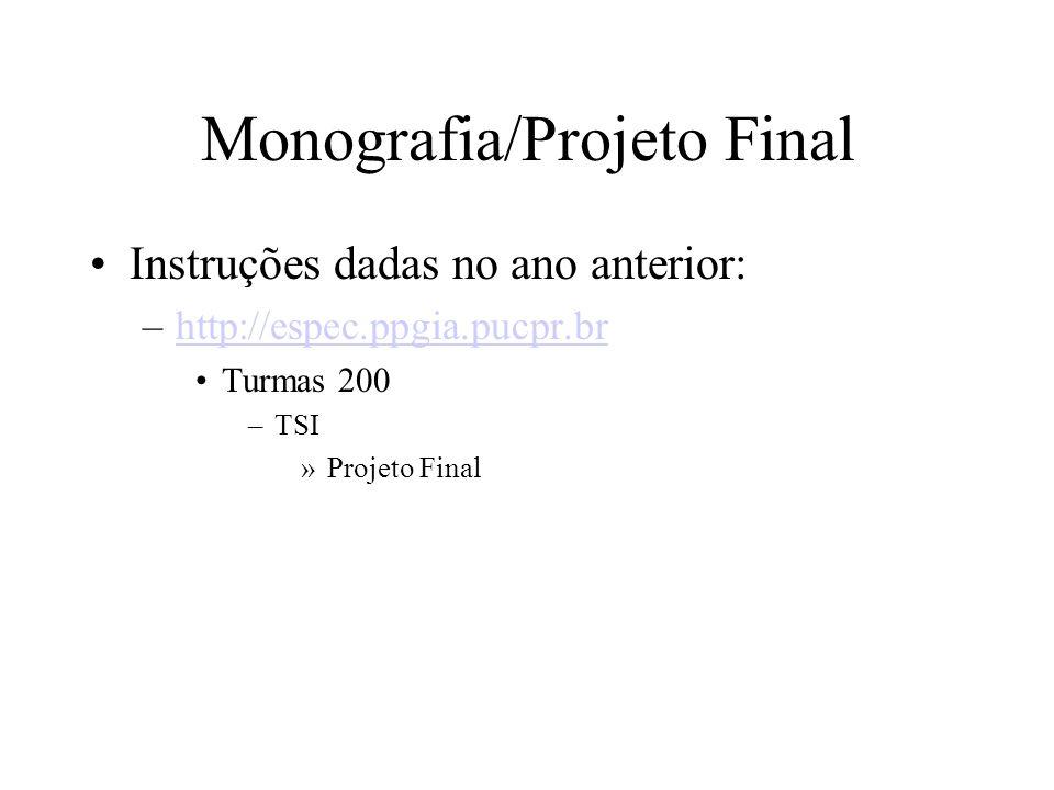 Monografia/Projeto Final Instruções dadas no ano anterior: –http://espec.ppgia.pucpr.brhttp://espec.ppgia.pucpr.br Turmas 200 –TSI »Projeto Final