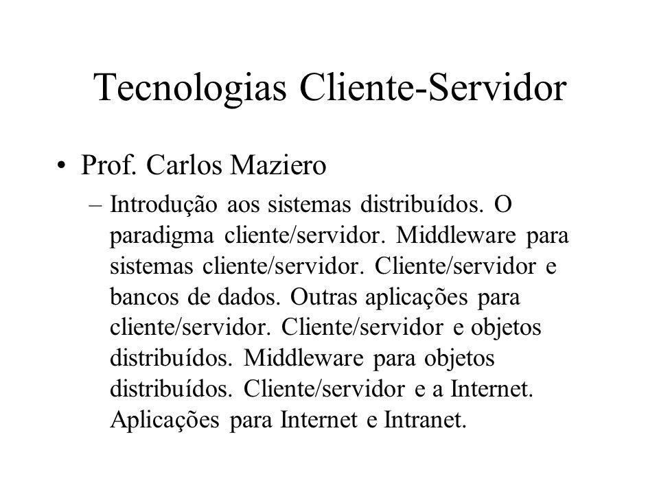 Tecnologias Cliente-Servidor Prof.Carlos Maziero –Introdução aos sistemas distribuídos.