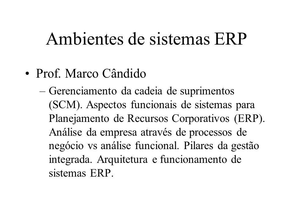 Ambientes de sistemas ERP Prof.Marco Cândido –Gerenciamento da cadeia de suprimentos (SCM).